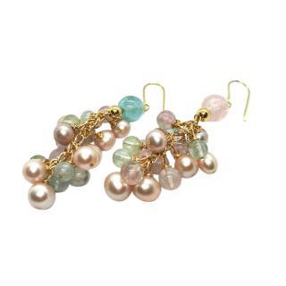 Fragments Rose Quartz, Pearl & Aquamarine Yellow Gold Earrings