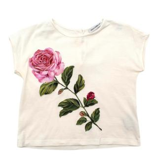 Dolce & Gabbana Kid's Rose Embroidered White Cotton T-Shirt