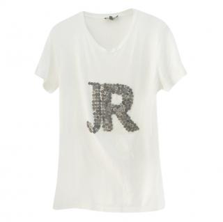 John Richmond Button Embellished Logo T-Shirt