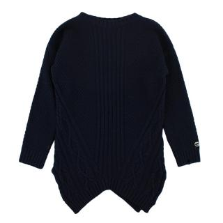 Gucci Kid's Navy Textured Wool Knit Sweater