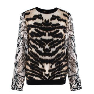 Roberto Cavalli Animal Print Silk Jumper