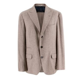 Brunello Cucinelli Cream Wool, Silk & Cashmere Tailored Jacket