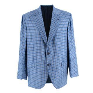 Donato Liguori Blue Checkered Cashmere blend Tailored Blazer
