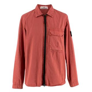 Stone Island Brick Orange Brushed-cotton Overshirt