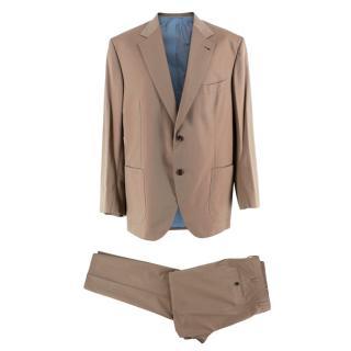Donato Liguori Beige Cotton Blend Tailored Suit