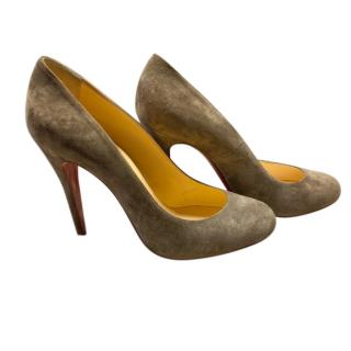 Christian Louboutin Suede Round Toe Pumps
