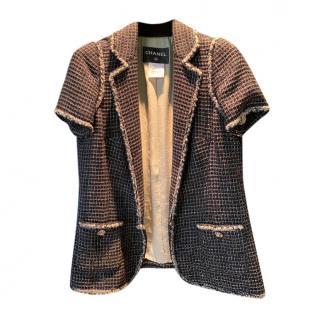 Chanel Tweed Lurex Knit Short Sleeve Jacket