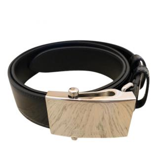 Miu Miu Black Leather Belt with Mirrored Buckle
