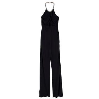 Roberto Cavalli Black Crystal Embellished Halter Neck Jumpsuit