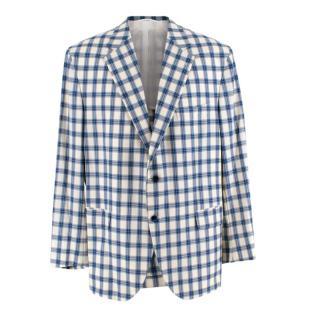 Donato Liguori White & Blue Linen & Silk Blend Single Breasted Jacket