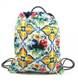 Dolce & Gabbana Sicily Print Drawstring Backpack