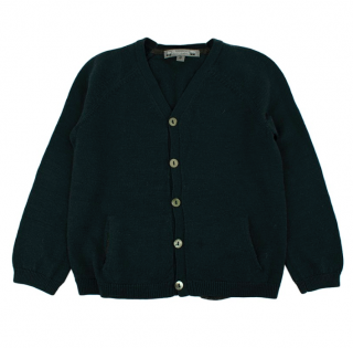 Bonpoint Kids Green Wool Cardigan