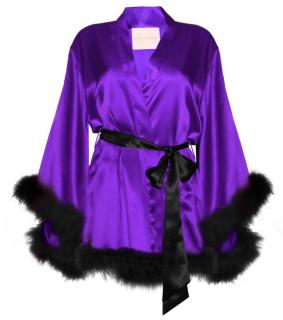 Maguy De Chadirac Purple & Black Silk Marabou Feather Trim Kimono Robe