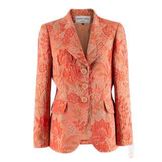 Hardy Amies Orange Floral Print Jacquard Blazer