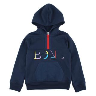 Bonpoint Blue Piquet Zipped Hoody