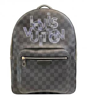 Louis Vuitton Graphite Check Logo-Print 'Josh' Backpack