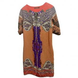 Etro Gold & Purple Silk Printed Shift Dress