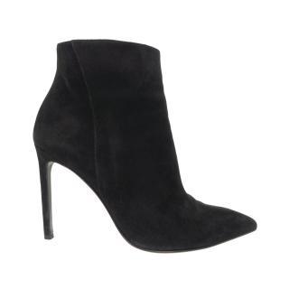 Saint Laurent Black Suede Stiletto Ankle Boots