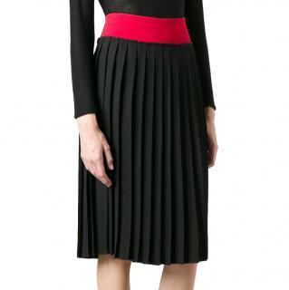 Victoria Beckham Colour-Block Pleated Midi Skirt