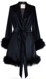 Maguy De Chadirac Black Marabou Feather Trimmed Silk Robe