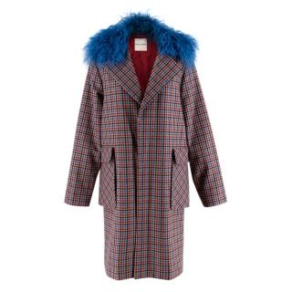 Each x Other Check Coat With Blue Faux Fur Collar
