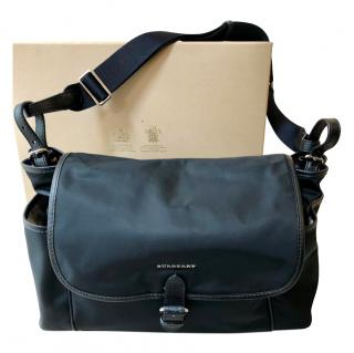 Burberry Black Nylon Leather Trim Baby Changing Bag