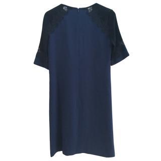 Gerard Darel Navy Lace Detailed Shift Dress
