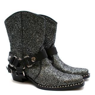 Miu Miu Grey Glitter 40 Cowboy Boots