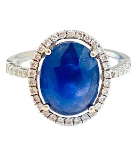 Bespoke 18ct White Gold Diamond Set Sapphire Ring