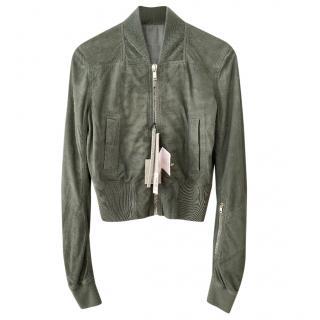 Rick Owens sage green suede bomber jacket