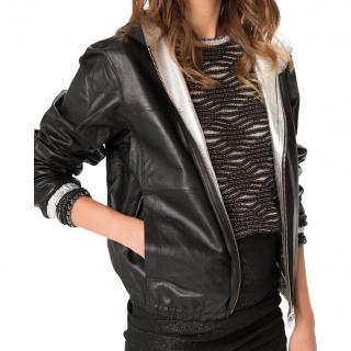 Maje black/silver reversible bomber jacket