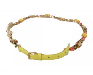 Dolce & Gabbana Yellow Crystal Embellished Belt
