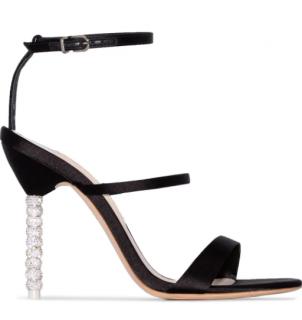 Sophia Webster Black Rosalind Crystal 100 Velvet Sandals
