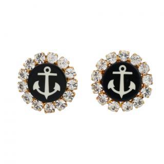 Dolce & Gabbana Crystal Anchor Clip-On Earrings