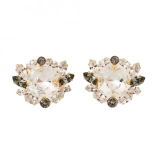 Dolce & Gabbana Floral Crystal Clip-On Earrings