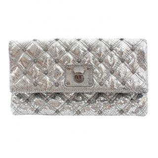 Marc Jacobs Metallic Silver Python Embossed Clutch
