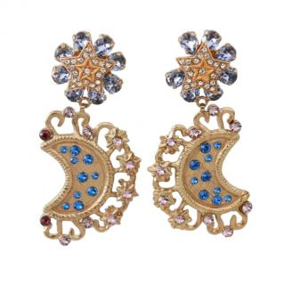 Dolce & Gabbana Blue Crystal Embellished Moon Earrings