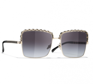 Chanel Grey Gradient Embellished Square Sunglasses