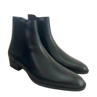 Saint Laurent Mens Black Leather Chelsea Boots
