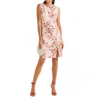Giambattista Valli Blush Floral Print Silk Crepe Dress