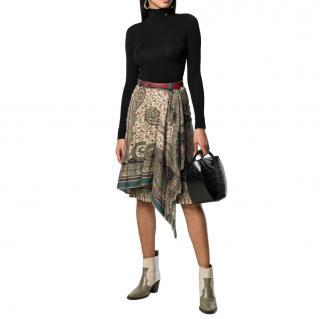 Etro Asymmetric Paisley Print Wool & Silk Skirt