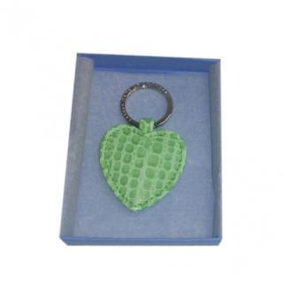 Smythson Green Embossed Heart Key Ring