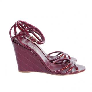 Chanel oxblood red wedge sandals