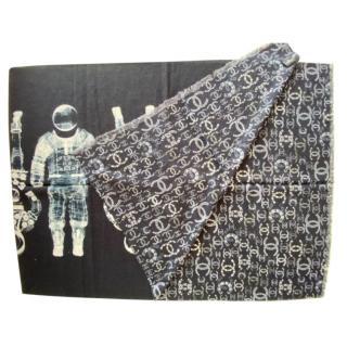 Chanel blue Astronaut print cashmere shawl