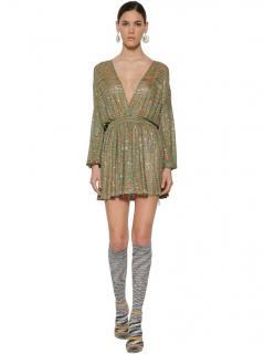 Missoni Metallic Knit Embellished Mini Dress
