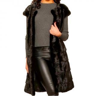 Bespoke Black Copenhagen Mink Fur Longline Vest
