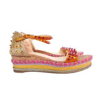 Christian Louboutin Gold/Pink Pyraclou 60 Studded Wedges