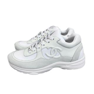 Chanel White CC Classic Lace-Up Sneakers