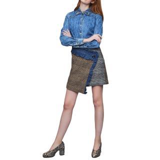 Manoush Farah Denim & Plaid Ruffle Wrap Skirt