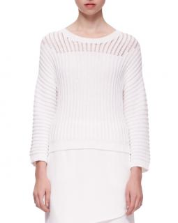 J Brand White Striped Knit Jumper